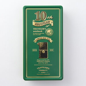 TRAVELER'S notebookトラベラーズノート ミニ10周年限定缶セット(緑缶/黒ミニノート)02P05Nov16