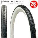 【2本セット】 ビーチクルーザー タイヤ GIZA Products ギザ C-241 26x2.125 BLK/WHT サイド