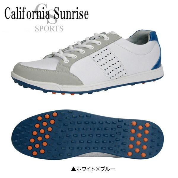 朝日ゴルフ カリフォルニア サンライズ CSSH3611 スパイクレス ゴルフシューズ ホワイト×ブルー ASAHI California Sunrize CSSH-3611【朝日ゴルフ】【ゴルフシューズ】【CSSH-3611】【スパイクレス】