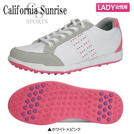 【レディース/送料無料】 朝日ゴルフ カリフォルニア サンライズ CSSH-3622L スパイクレス ゴルフシューズ ホワイト×ピンク ASAHI【朝日ゴルフ】【ゴルフシューズ】【あす楽対応】