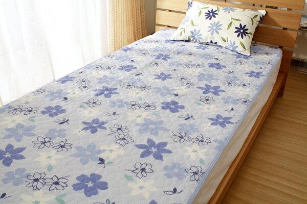 【訳あり】エンボス 敷きパッド フラワー 花柄 シングル ブルー