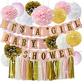 【中古】【輸入品・未使用未開封】happyfieldベビーシャワーデコレーションfor GirlピンクゴールドBaby Shower It 's A GirlバナーTissue Pom Poms紙提灯ペーパーハニカムボールテ