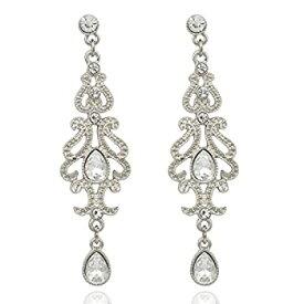 【中古】【輸入品・未使用未開封】Q&Q Fashion Art Deco 20s 30s Flapper Gatsby Austria Crystal Bridal Silver Dangle Earrings