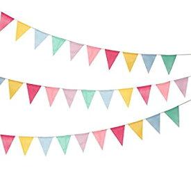【中古】【輸入品・未使用未開封】Shappy 5m Imitated Burlap Pennant Banner Multicolor Fabric Triangle Flag Bunting for Party Hanging Decoration