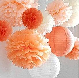 【中古】【輸入品・未使用未開封】(orange) - LifeGlow Crafts Pom Poms -12Pcs of 25cm 30cm 36cm 3 Colours Tissue Paper Flowers Tissue Paper Pom Poms Wedding Decor Party D