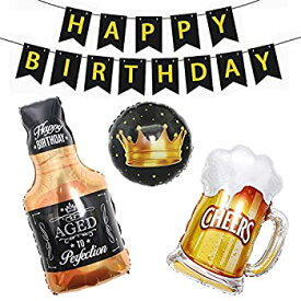 【中古】【輸入品・未使用未開封】Happy Birthday バナー ビールマグ付き ウィスキーボトル&クラウン マイラーホイルバルーン 誕生日パーティーデコレーション用品 男女兼用