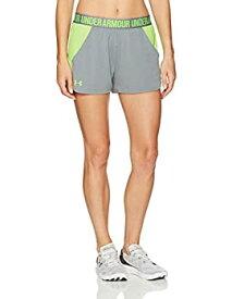 【中古】【輸入品・未使用未開封】Under Armour Women's Play Up Mesh Inset ShortsTrue Gray Heather (025)/Quirky Lime XX-Large