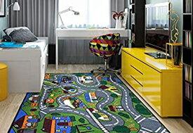 【中古】【輸入品・未使用未開封】(0.9mX1.5m) - Ottomanson Jenny Collection Grey Base with Multi Colours Kids Children's Educational Road Traffic System Design(Non-Slip)