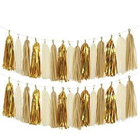 【中古】【輸入品・未使用未開封】(Tassels - Tan Ivory Gold Set) - Tissue assels MerryNine DIY Tassel Garland Banner for Wedding Baby Shower Event & Party Supplies Decor