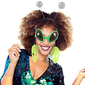 【中古】【輸入品・未使用未開封】Alien Costume Alien Glasses and Martian Antenna Headband and Alien Earring Set for Space Alien Party Favor [並行輸入品]