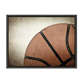 【中古】【輸入品・未使用未開封】DesignOvation Sylvie Vintage Basketball Quarter Sport Print Framed Canvas Wall Art by Shawn St. Peter 18x24 Dark Grey Traditional Class