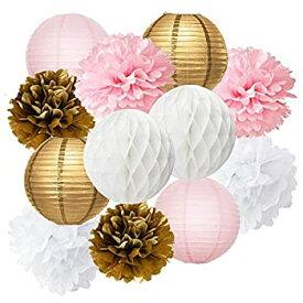 【中古】【輸入品・未使用未開封】Furuix 12pcs Pink Gold Party Decoration Kit Tissue Paper Pom Pom Honeycomb Ball and Paper Lantern for Girls' Birthday Wedding Decoratio