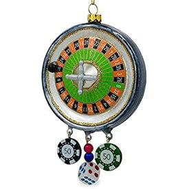 【中古】【輸入品・未使用未開封】BestPysanky ルーレット カジノポーカーチップグラス クリスマスオーナメント 5.75インチ