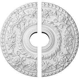 【中古】【輸入品・未使用未開封】(Split) - Ekena Millwork CM18RO2 46cm OD x 8.9cm ID x 3.8cm P Rose Ceiling Medallion Fits Canopies up to 18cm - 0.6cm 2 Piece