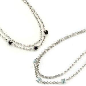 プラチナ ペアアンクレット アクアマリン ブラックダイヤモンド スリーストーン 3月誕生石 チェーン レディース ダイヤ カップル 宝石 送料無料