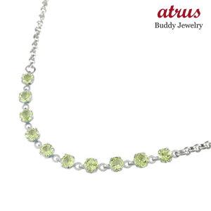 プラチナ アンクレット ペリドット 8月の誕生石 カラーストーン 900 オリジナル チェーン レディース 宝石 送料無料