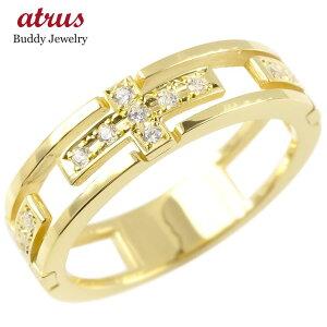ゴールド リング ダイヤモンド クロス 指輪 10K イエローゴールドk10 ピンキーリング ダイヤ 十字架 透かし コントラッド 東京 送料無料 LGBTQ ユニセックス 男女兼用