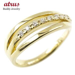 ゴールド リング ダイヤモンド レディース 3連リング 指輪 イエローゴールドk10 婚約指輪 ピンキーリング 送料無料