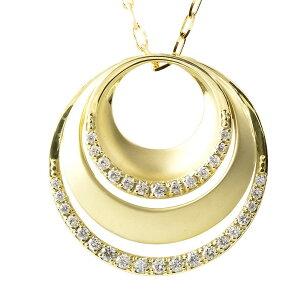 【ポイント10倍】18金 ネックレス ダイヤモンド ダイヤレディース ゴールド イエローゴールドK18 丸 サークル ペンダント シンプルグリームカットチェーン 女性 大人 送料無料 の トップ 人気