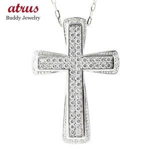 プラチナ ネックレス メンズ ダイヤモンド クロス pt900 ペンダント トップ ダイヤ グリームカットチェーン 男性 大人 十字架 の 送料無料 人気