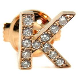 メンズ ピンブローチ イニシャルブローチ K ダイヤモンド ラペルピン ダイヤ ピンクゴールド 18金 男性用 タックピン 送料無料