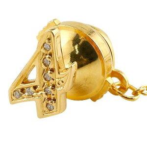 メンズ タイタック タイピン ダイヤモンド 数字 ナンバー 4 イエローゴールドk18 18金 ピンブローチ ラペルピンタックピン ダイヤ 男性用 送料無料 スタッドボタン