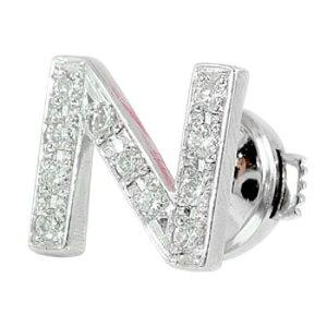 メンズ ピンブローチ ラペルピン ダイヤモンド イニシャル N プラチナ タイタック タイピン タックピン ダイヤ 送料無料 スタッドボタン