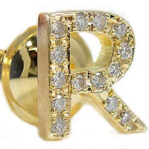 メンズ ピンブローチ ラペルピン ダイヤモンド イニシャル R イエローゴールドk18 タイタック タイピン タックピン ダイヤ 18金 送料無料 スタッドボタン