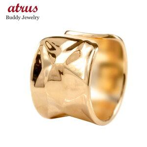 メンズ イヤーカフ 18金 ピンクゴールドk18 イヤークリップ 片耳用 イヤカフ イヤリング 幅広 ボロノイ模様 凸凹 テクスチャ 18K 地金 リング 指輪 送料無料