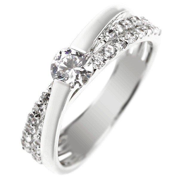 鑑定書付 エンゲージリング 婚約指輪 ダイヤモンド リング ダイヤ 0.58ct 一粒 大粒 VS 指輪 ホワイトゴールドK18 18金 ストレート レディース ブライダルジュエリー ウエディング 贈り物 誕生日プレゼント ギフト 18k お返し