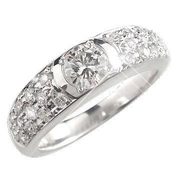 ピンキーリング 鑑定書付 パヴェリング ダイヤモンド リング VS 一粒 大粒ダイヤモンド 指輪 ホワイトゴールドK18 18金 ダイヤモンドリング ダイヤ ストレート