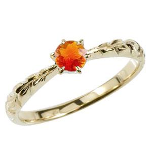 ピンキーリング ハワイアンジュエリー ファイヤーオパール リング 一粒 大粒 指輪 イエローゴールドk18 ハワイアンリング 18金 k18yg ダイヤ ストレート