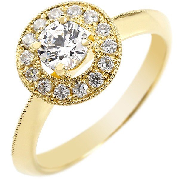 婚約指輪 エンゲージリング ダイヤモンド リング 指輪 大粒 取り巻き イエローゴールドk18 ダイヤ 18金 ストレート レディース ブライダルジュエリー ウエディング 贈り物 誕生日プレゼント ギフト ファッション お返し Xmas Christmas