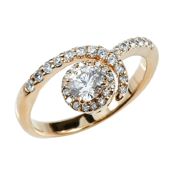 婚約指輪 エンゲージリング ダイヤモンド 取り巻き ピンクゴールドk18 ダイヤ 18金 ストレート レディース ブライダルジュエリー ウエディング 贈り物 誕生日プレゼント ギフト ファッション お返し