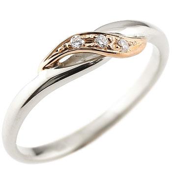 婚約指輪 エンゲージリング ダイヤモンド プラチナリング ピンキーリング ピンクゴールドk18 ダイヤ コンビリング 18金 ストレート 指輪 レディース ブライダルジュエリー ウエディング 贈り物 誕生日プレゼント ギフト 18k お返し Xmas Christmas