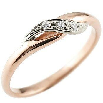 婚約指輪 エンゲージリング ダイヤモンド ピンキーリング ピンクゴールドk18 プラチナ ダイヤ コンビリング 18金 ストレート 指輪 レディース ブライダルジュエリー ウエディング 贈り物 誕生日プレゼント ギフト 18k お返し