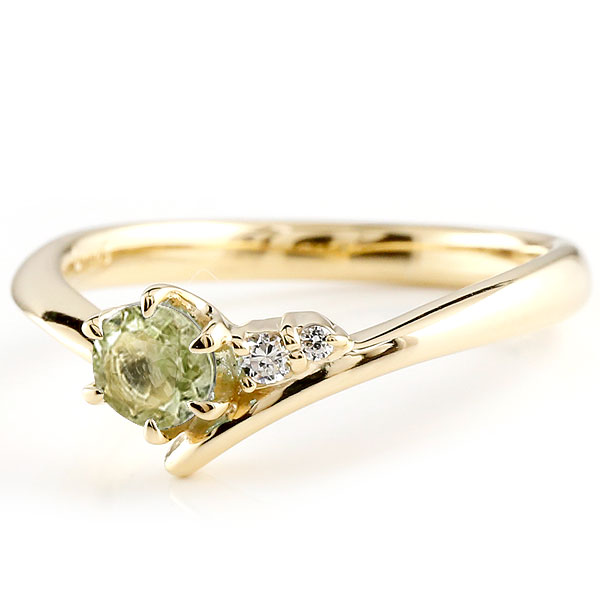 婚約指輪 エンゲージリング ペリドット イエローゴールドk10リング ダイヤモンド 指輪 ピンキーリング 一粒 大粒 k10 レディース 8月誕生石 V字 贈り物 誕生日プレゼント ギフト ファッション お返し 春コーデ