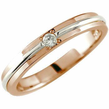 婚約指輪 エンゲージリング ダイヤモンドリング 一粒 ピンクゴールドk18 プラチナ コンビ 18金 ダイヤ ストレート レディース ブライダルジュエリー ウエディング 贈り物 誕生日プレゼント ギフト ファッション 18k お返し