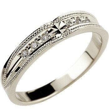 婚約指輪 エンゲージリング プラチナ ダイヤモンド クロス リング ミル打ち ダイヤモンドリング ダイヤ ストレート レディース ブライダルジュエリー ウエディング 贈り物 誕生日プレゼント ギフト ファッション お返し