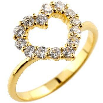 エンゲージリング 婚約指輪 オープンハート パヴェリング ダイヤモンドリング 指輪 イエローゴールドk18 ピンキーリング ダイヤリング 18金 レディース ダイヤ 贈り物 誕生日プレゼント ギフト ファッション 18k お返し Xmas Christmas