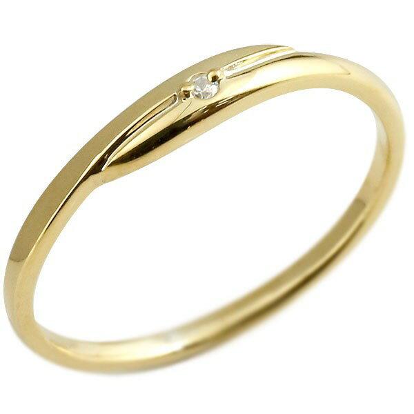 婚約指輪 エンゲージリング ダイヤモンド ピンキーリング イエローゴールドk18 ダイヤ 18金 極細 華奢 スパイラル 指輪 贈り物 誕生日プレゼント ギフト ファッション 18k Xmas Christmas