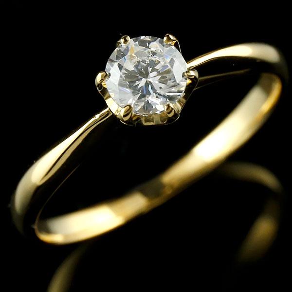【送料無料】エンゲージリング イエローゴールドk18 ダイヤモンド 大粒 一粒 指輪 婚約指輪 18金 リング ストレート ギフト プレゼント 贈り物 ファッション 18k