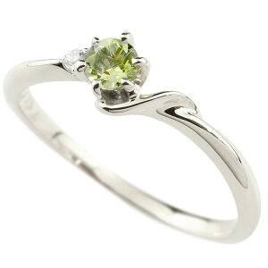 指輪 エンゲージリング イニシャル ネーム S 婚約指輪 ペリドット ダイヤモンド ホワイトゴールドk18アルファベット 18金 レディース 8月誕生石 人気 女性 の 送料無料