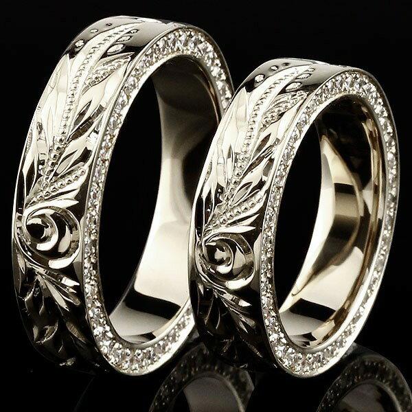 ハワイアンジュエリー 結婚指輪 ハワイアン ダイヤモンドペアリング マリッジリング シルバー ダイヤ ストレート カップル 贈り物 誕生日プレゼント ギフト ファッション
