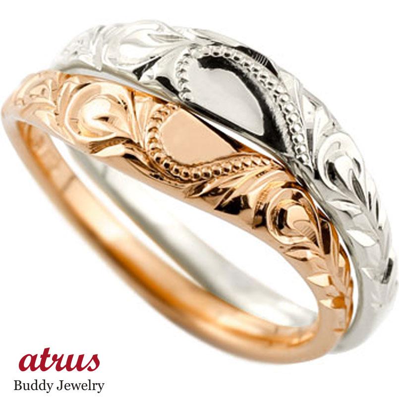 ハワイアン ペアリング 人気 結婚指輪 ハート ゴールドk18 ミル打ち 地金リング 18金 k18wg k18pg ストレート カップル ブライダル結婚指輪 シンプル結婚指輪 人気結婚指輪 ペア シンプル 2本セット 彼女 結婚記念日