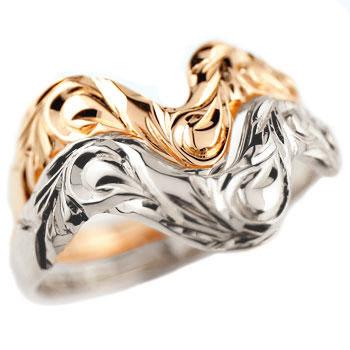 ハワイアンジュエリー ペアリング プラチナ 結婚指輪 V字 マリッジリング ピンクゴールドk18 ウェーブリング 18金 カップル 贈り物 誕生日プレゼント ギフト ファッション