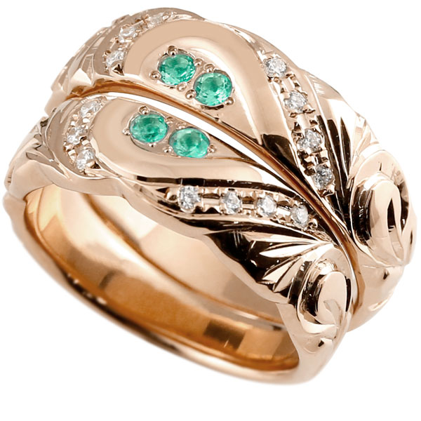 結婚指輪 ペアリング ハワイアンジュエリー エメラルド ダイヤモンド ピンクゴールドk10 幅広 指輪 マリッジリング ハート ストレート カップル 10金 プロポーズ 記念日 誕生日 マリッジリング 贈り物 誕生日プレゼント ギフト