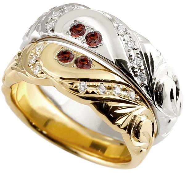 結婚指輪 ペアリング ハワイアンジュエリー ガーネット ダイヤモンド イエローゴールドk10 ホワイトゴールドk10 幅広 指輪 マリッジリング ハート 10金 プロポーズ 記念日 誕生日 マリッジリング 贈り物 誕生日プレゼント ギフト Xmas Christmas