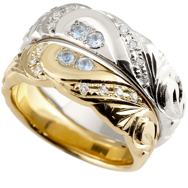 結婚指輪 ペアリング ハワイアンジュエリー ブルームーンストーン ダイヤモンド イエローゴールドk18 ホワイトゴールドk18 幅広 ハート 18金 プロポーズ 記念日 誕生日 マリッジリング 贈り物 誕生日プレゼント ギフト ファッション Xmas Christmas