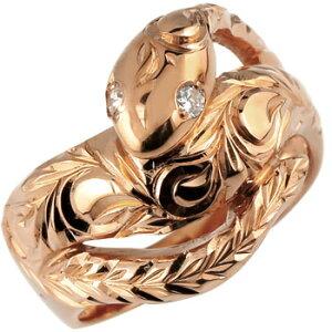 ハワイアンジュエリー ピンキーリング 蛇 リング ダイヤモンド ダイヤスネーク 指輪 ピンクゴールドk18 レディース ハワイアンリング 18金 k18pg 送料無料 人気